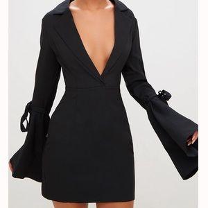 Deep plunge blazer dress